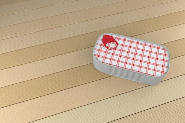 Fotorealistyczne renderowanie puszki na tle drewna - renderowanie 3d