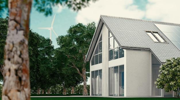 Fotowoltaiczne panele słoneczne na nowoczesnym, wybudowanym nowoczesnym domu, renderowanie 3d