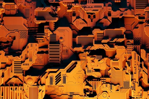 Fragment futurystycznej maszyny. 3d ilustracja futurystycznej ściany wykonanej z różnych detali pod żółtymi neonami. tło cyberpunk. tapeta przemysłowa. szczegóły grunge