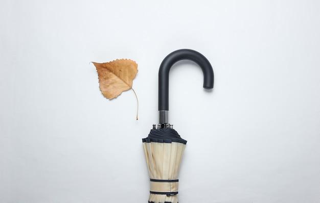 Fragment haczyka na parasolkę i opadłego liścia. widok z góry. akcesoria jesienne