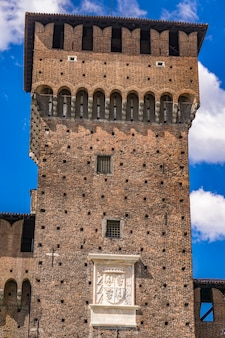 Fragment zamku sforza w mediolanie we włoszech