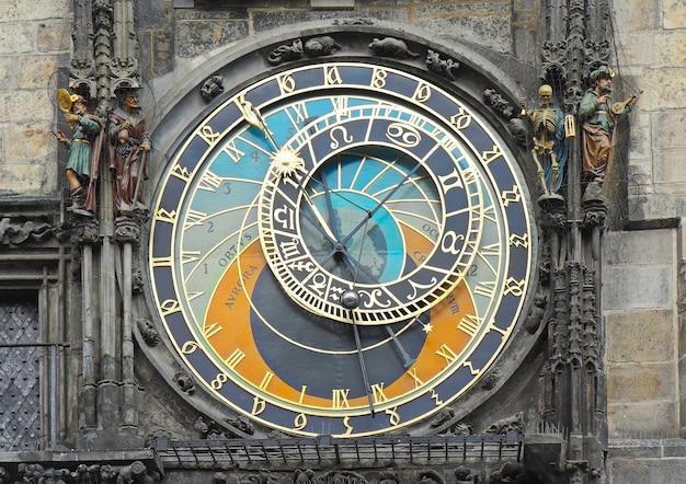 Fragment zegara astronomicznego na placu staromiejskim, praga, czechy