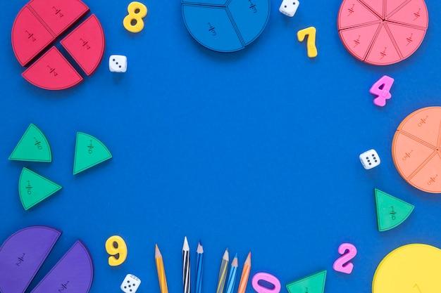 Frakcje matematyki i nauki z góry z miejsca na kopię