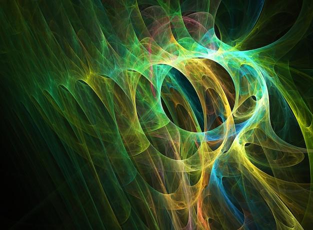 Fraktal kolorowe abstrakcyjne okrągłe krzywe i linie na czarnym tle