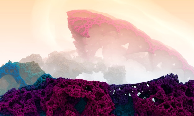 Fraktal tło gór koralowych. fantasy alien krajobraz - renderowanie 3d.