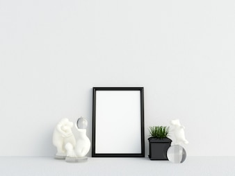 Frame Mockup Interior White Wall with Decoration