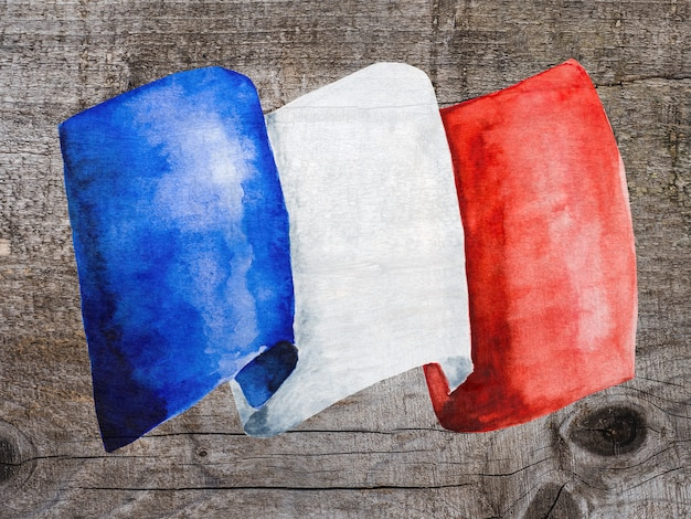 Francuska flaga. piękna kartka z pozdrowieniami.