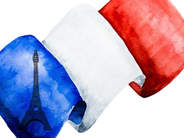 Francuska flaga. ścieśniać