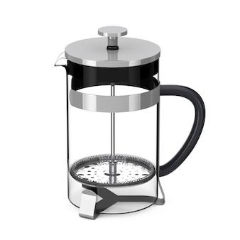 Francuska prasa do kawy lub dzbanek do herbaty na białym tle. renderowanie 3d