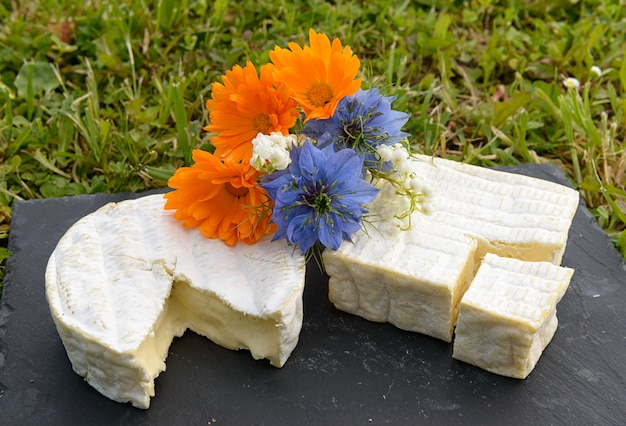 Francuski ser normandie na talerzu z kwiatami