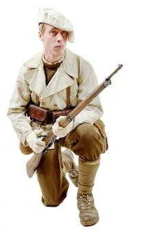 Francuski żołnierz piechoty górskiej podczas ii wojny światowej