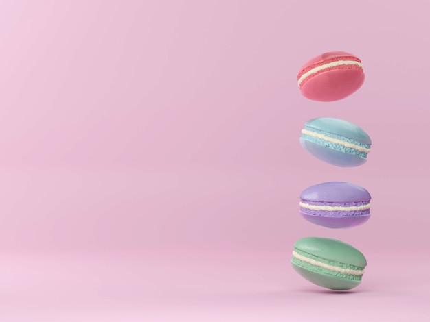 Francuskie kolorowe makaroniki kolorowe pastelowe makaroniki whitr różowy i brązowy makaronik ze świeżą borówką