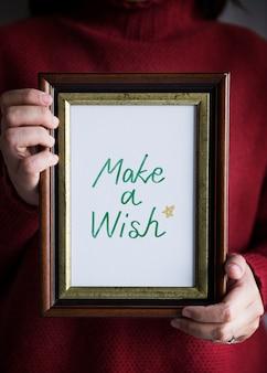 Fraza zrób życzenie w ramce