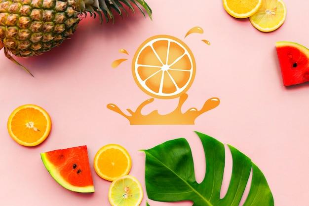 Fresh nature pomarańczowa grafika z organicznymi owocami