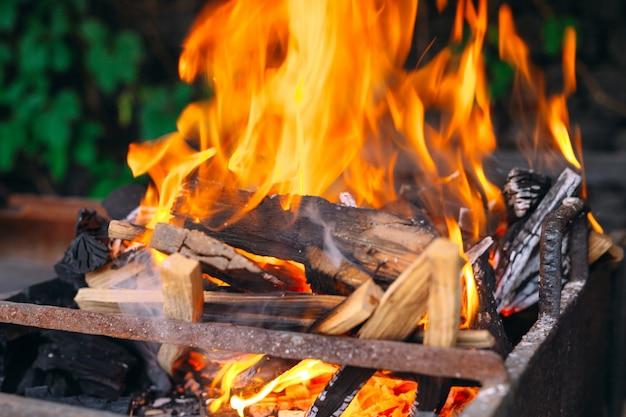 Frewood płonie płomienie na żelaznym grillu z zieloną trawą dalej