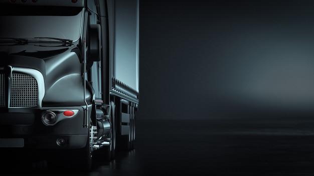 Frontowa duża ciężarówka w czerni z copyspace