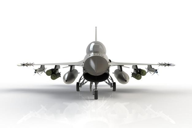 Frontowy widok f16, amerykański militarny samolot szturmowy na białym tle, 3d rendering