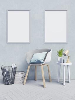 Frontowy widok pracujący wnętrze z błękit ściany pustym pokojem, mockup plakat na bławym wa