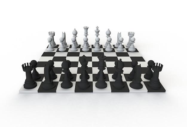 Frontowy widok szachy oblicza na bawić się deskę na białym tle, 3d rendering