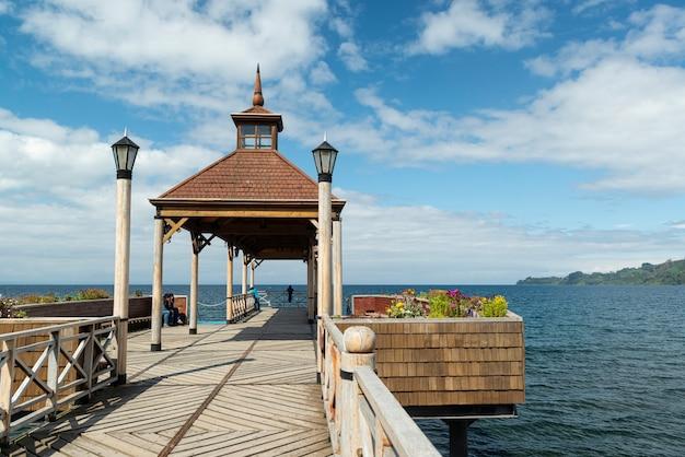 Frutillar llanquihue los lagos chile jezioro muelle i wulkan osorno
