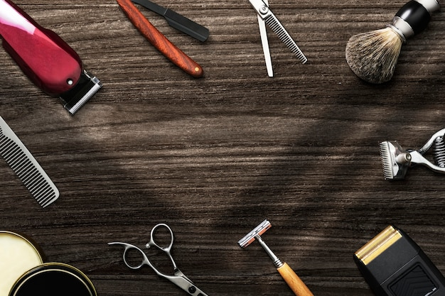 Fryzjer tapety tło z narzędziami, koncepcją pracy i kariery