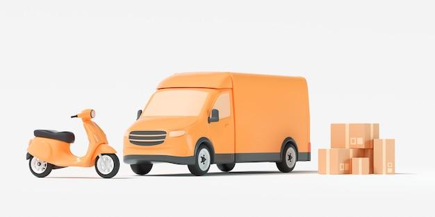 Furgonetka dostawcza, żółta furgonetka z opakowaniem i skuter na białym tle. wysyłka, dostawa i transport. ilustracja renderowania 3d