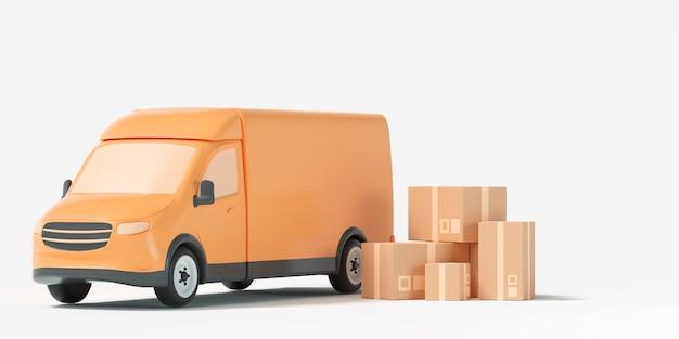 Furgonetka, żółty van z opakowaniem na białym tle. wysyłka, dostawa i transport. ilustracja renderowania 3d