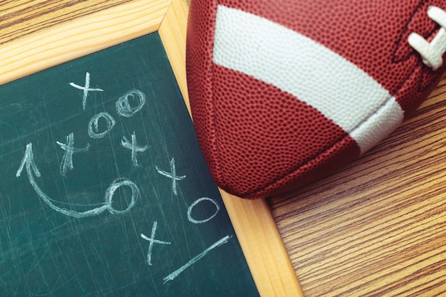 Futbol amerykański na tablicy szkolnej