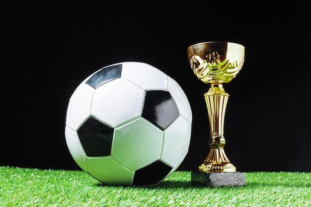 Futbolowa filiżanka z futbolową piłką na trawie