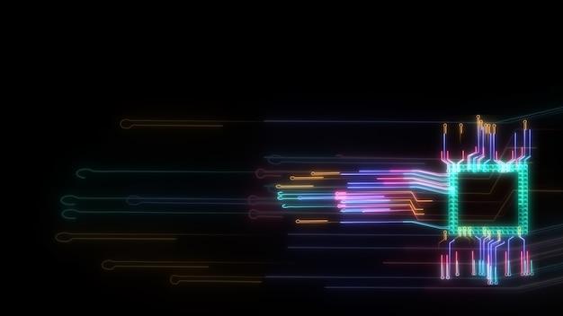 Futurystyczna cyfrowa inteligentna technologia przetwarzania danych chipowych pełna moc i energia oraz rozmycie obwodu szybkiego transferu tła