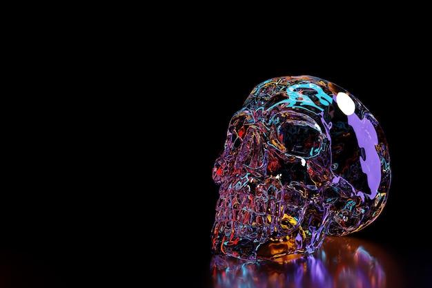 Futurystyczna czaszka ilustracja 3d. czaszka oświetlona niebieskimi i czerwonymi oraz neonowymi światłami. fajny futurystyczny element projektu.