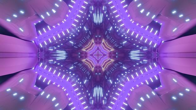 Futurystyczna ilustracja 3d tunelu w kształcie geometrycznego abstrakcyjnego wzoru z jasnymi neonowymi różowymi i fioletowymi światłami