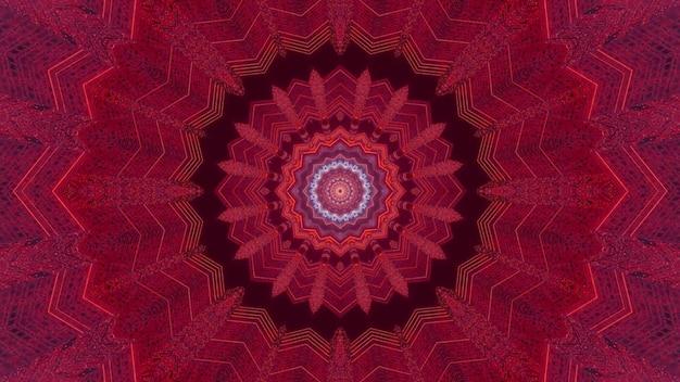 Futurystyczna ilustracja 3d wizualne abstrakcyjne tło z symetrycznym czerwonym kolorowym okrągłym kwiatem kalejdoskopowym z neonowymi liniami