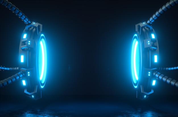 Futurystyczna makieta renderowania 3d cyberplatformy i kable ze świecącymi neonami