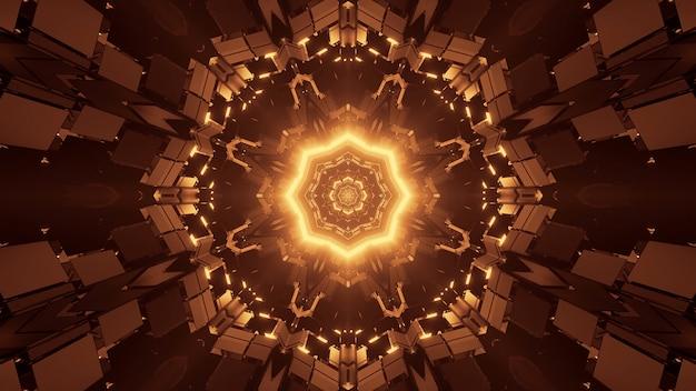 Futurystyczna ośmiokątna mandala science-fiction z brązowymi i złotymi światłami