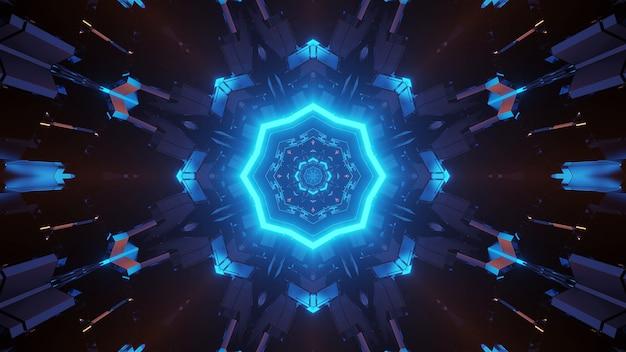 Futurystyczna ośmiokątna mandala science-fiction z neonowym niebieskim światłem