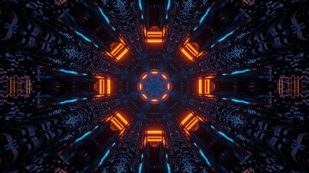 Futurystyczna ośmiokątna mandala science-fiction z neonowymi niebieskimi i pomarańczowymi światłami