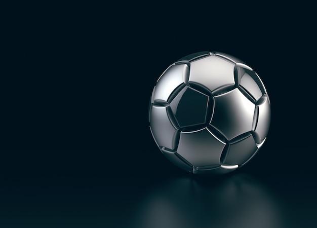 Futurystyczna piłka nożna wykonana z metalu na czarnej przestrzeni