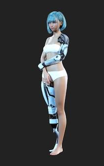 Futurystyczna stalowa robotyczna dziewczyna pozuje na ciemnym tle