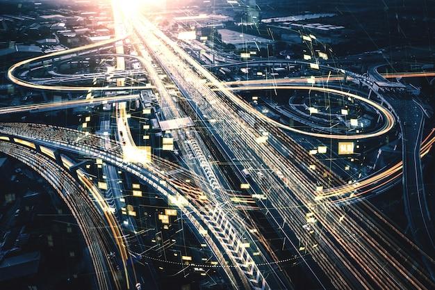 Futurystyczna technologia transportu drogowego z grafiką do cyfrowego przesyłania danych