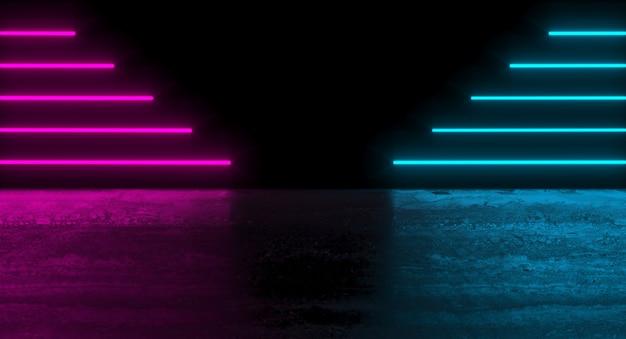 Futurystyczne ciemne podium z kolorowymi paskami i refleksami