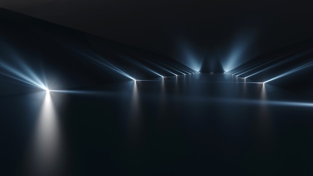 Futurystyczne ciemne podium ze światłem i powierzchnią odbijającą