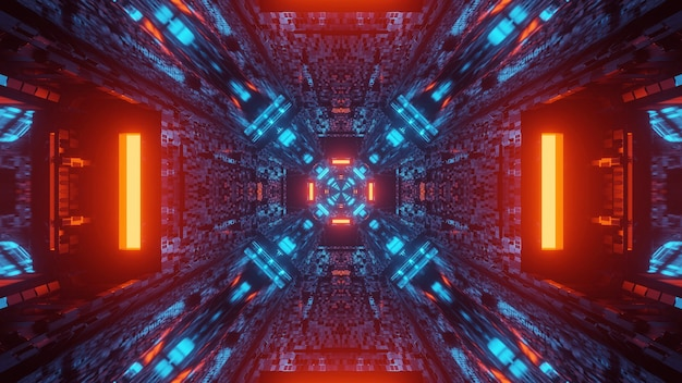 Futurystyczne neony w korytarzu tunelu