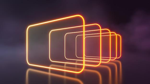 Futurystyczne niebieskie i fioletowe neony w stylu sci fi świecące ścianą dymu. renderowanie 3d