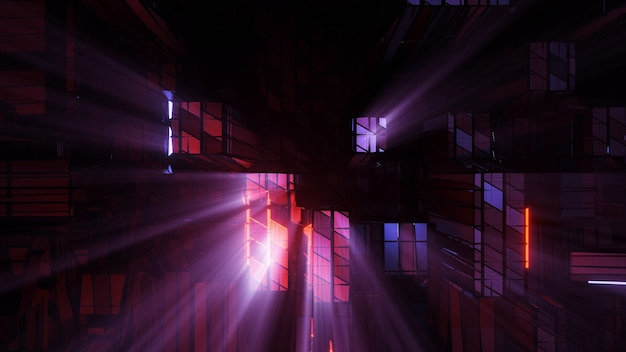 Futurystyczne światła techno science fiction - idealne do futurystycznego tła i tapety