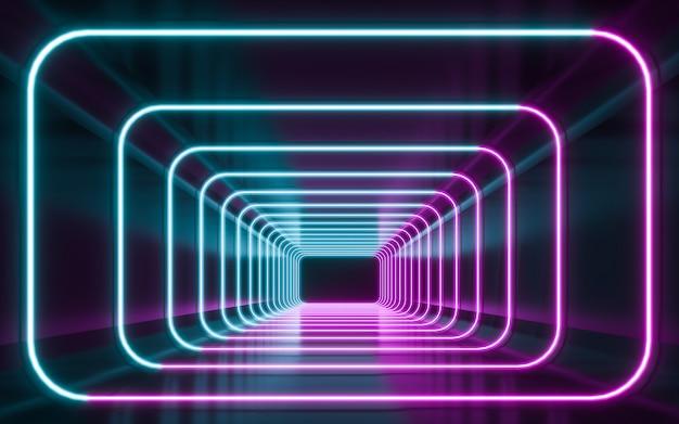 Futurystyczne świecące niebieskie i fioletowe lampy neonowe sci fi. renderowanie 3d