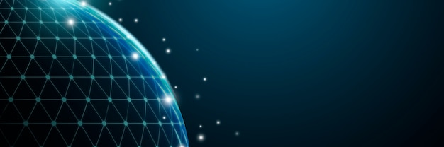 Futurystyczne tło globu cyfrowej siatki