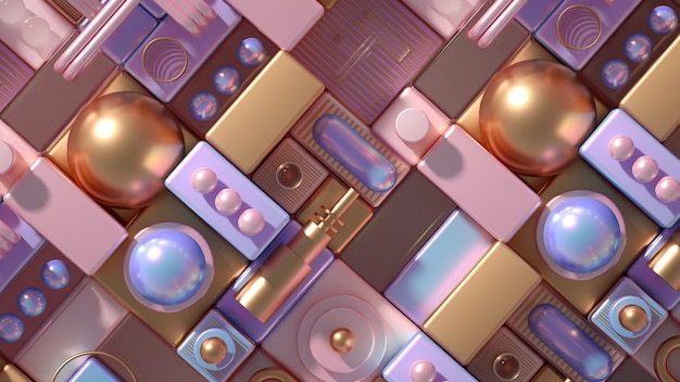 Futurystyczne tło nowoczesny minimalizm z kostkami i kulkami