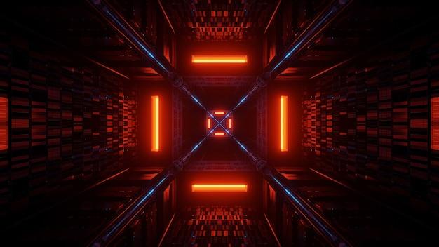 Futurystyczne tło z kolorowych świecących abstrakcyjnych neonów