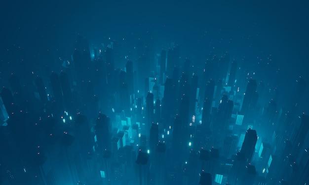 Futurystyczne wirtualne miasto science fiction z widoku z góry.